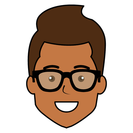 young man head avatar with glasses vector illustration design