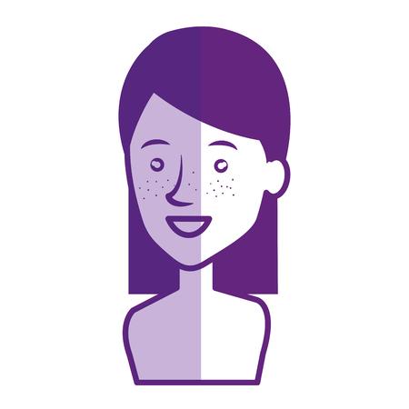 Jeune femme avatar torse nu caractère vector illustration design Banque d'images - 77989989