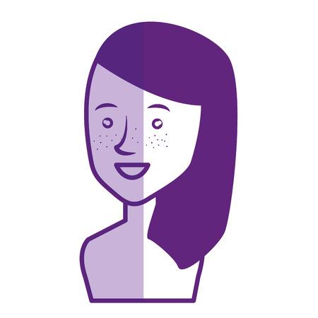 Jeune femme avatar torse nu caractère vector illustration design Banque d'images - 77989994
