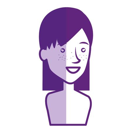 Jeune femme avatar torse nu caractère vector illustration design Banque d'images - 77990005