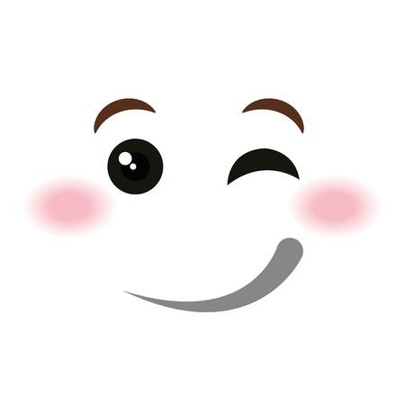 flirtatious face emoticon kawaii style vector illustration design