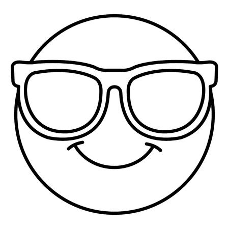 nerd face emoticon kawaii character vector illustration design Vektorové ilustrace