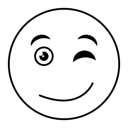 flirtatious face emoticon kawaii character vector illustration design
