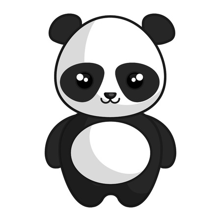 cute and tender bear panda kawaii style vector illustration design Иллюстрация