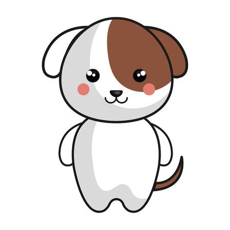 Schattige en tedere hond kawaii stijl vector illustratie ontwerp