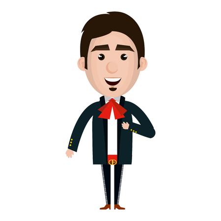 traje mexicano: Mexican mariachi avatar character vector illustration design