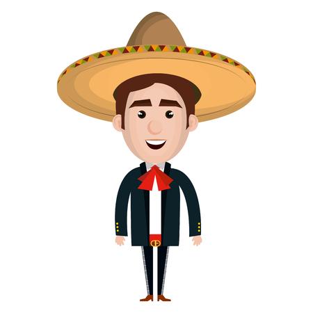 メキシコのマリアッチ アバター文字ベクトル イラスト デザイン 写真素材