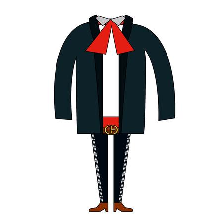 traje mexicano: Mexican mariachi costume icon vector illustration design
