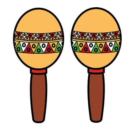 mexican maracas isolated icon vector illustration design