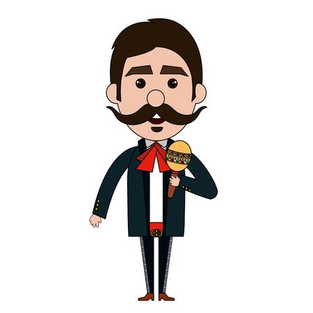 Mexican mariachi with maracas avatar character vector illustration design
