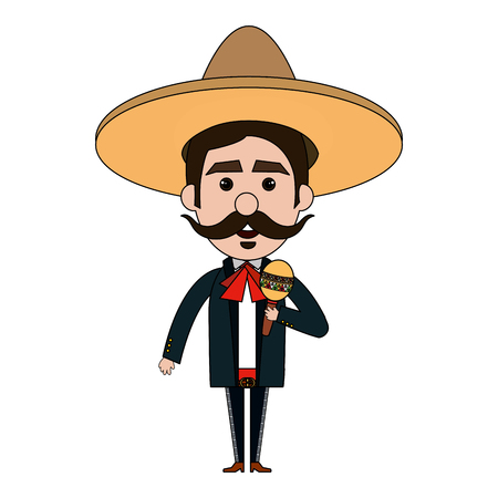 traje mexicano: Mexican mariachi with maracas avatar character vector illustration design