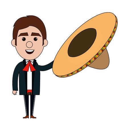 メキシコのマリアッチ アバター文字ベクトル イラスト デザイン  イラスト・ベクター素材