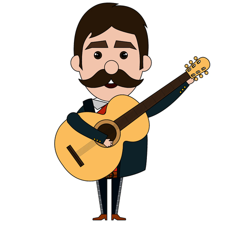 Mexican mariachi with guitar avatar character vector illustration design Illustration
