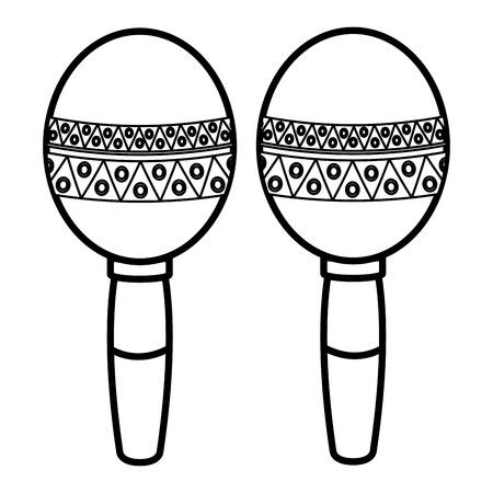Maracas mexicanos aislado icono de ilustración vectorial de diseño Foto de archivo - 77997490