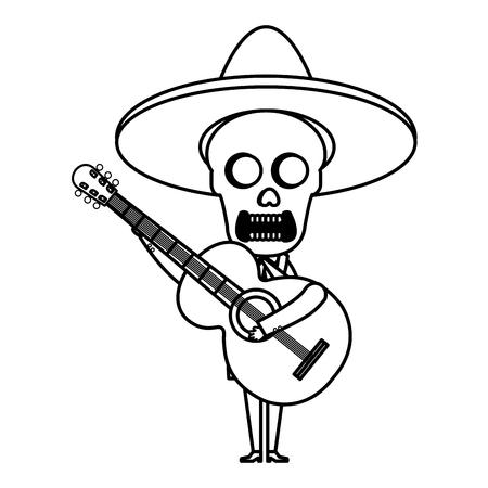 Mexican mariachi skull character with guitar vector illustration design Banco de Imagens