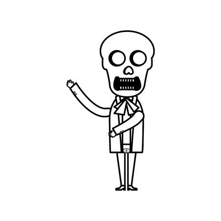Mexican mariachi skull character vector illustration design