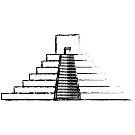Maya piramide geïsoleerd pictogram vector illustratie ontwerp