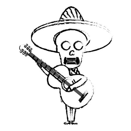 Mexican mariachi skull character with guitar vector illustration design Ilustração