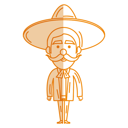 Mexican mariachi avatar character vector illustration design