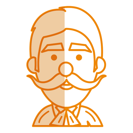 Young man with mustache head avatar vector illustration design