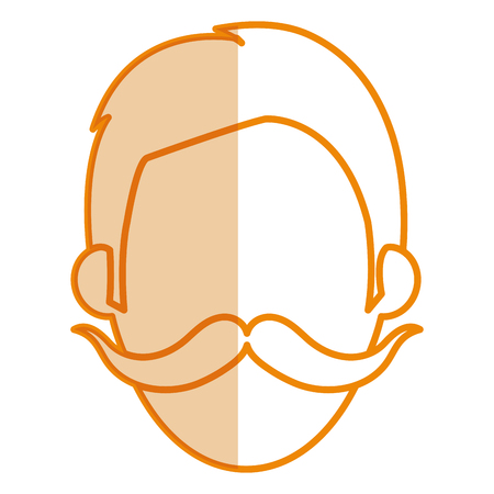 young man with mustache head avatar vector illustration design Illustration