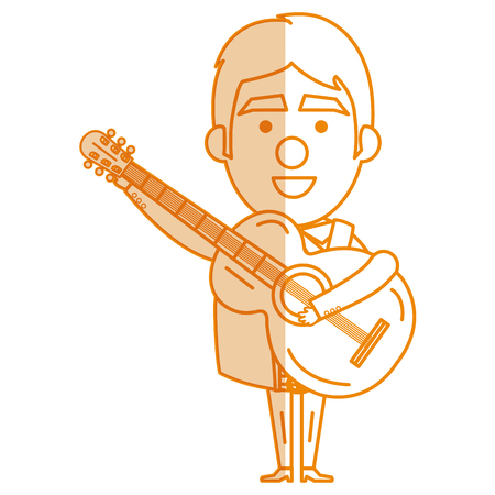 traje mexicano: Mexican mariachi with guitar avatar character vector illustration design Vectores