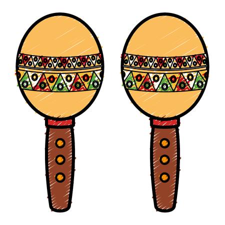 Mexicaanse maracas geïsoleerde pictogram vector illustratie ontwerp