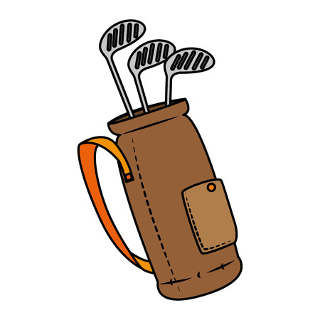 Golf clubs bag isolated icon vector illustration design