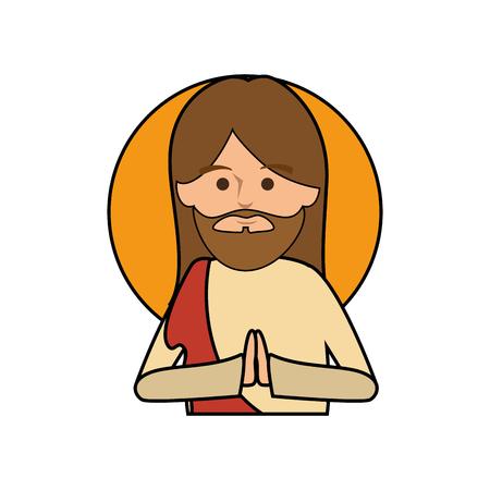 Jesuschrist face cartoon Illusztráció