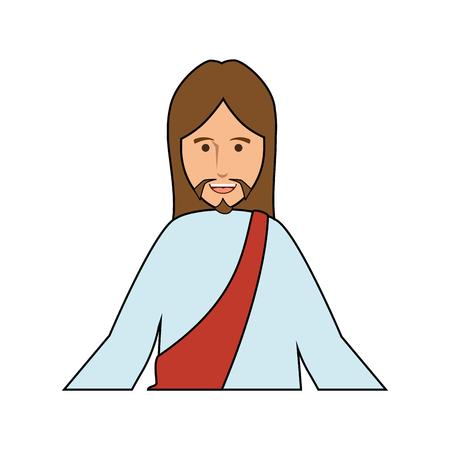 Jesuschrist face cartoon Ilustração