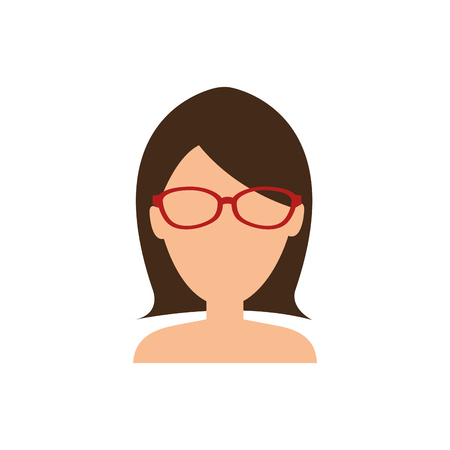 woman with glasses, avatar icon over white background. colorful design. vector illustration