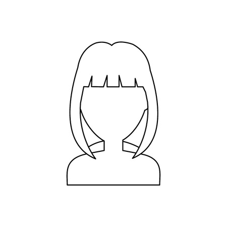 woman with short hair icon over white background. vector illustration