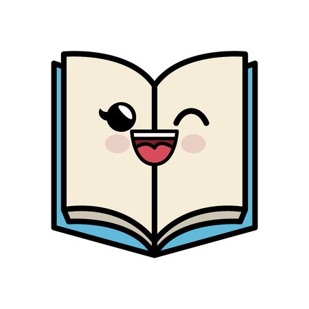 kawaii book icon over white background. colorful design. vector illustration Stock Vector - 78078229