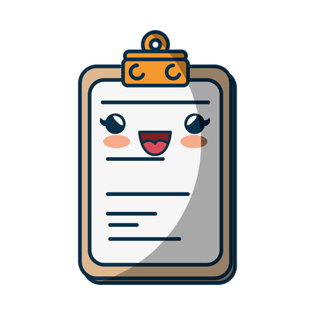kawaii report table icon over white background. colorful design. vector illustration