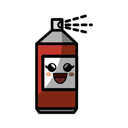 Kawaii spray bottle icon over white background. colorful design. vector illustration
