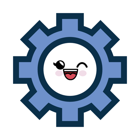 Kawaii gear wheel icon over white background. vector illustration Illustration