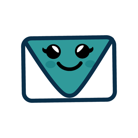 Kawaii envelope icon over white background. vector illustration