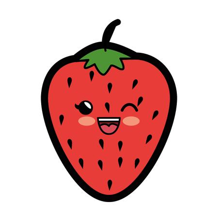 strawberry fruit icon over white background. colorful design. vector illustration Illustration