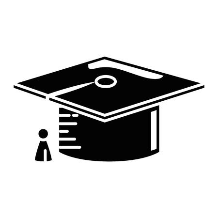 白い背景の上卒業キャップ アイコン。ベクトル illusttration  イラスト・ベクター素材