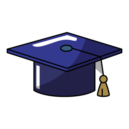 Graduation cap icon over white background. vector illustration