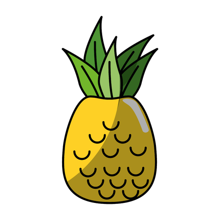 pineapple fruit icon over white background. vector illustration