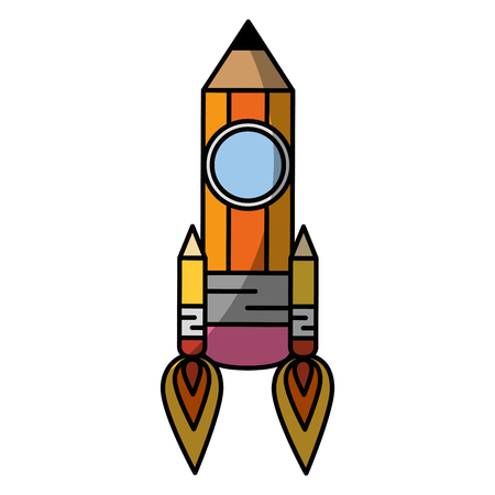 A pencil rocket icon over white background. vector illustration
