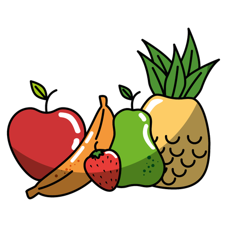 A healthy fruits icon over white background. vector illustration