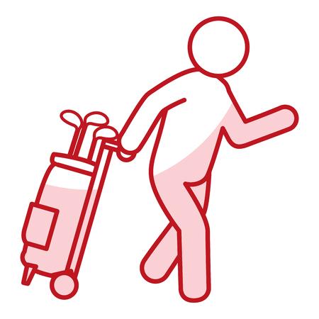 Joueur de golf avec des bâtons sac avatar caractère illustration vectorielle design