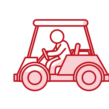 golf car with driver isolated icon vector illustration design Illustration