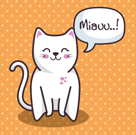 Cute white cat over orange dotted background. Vector illustration. Фото со стока - 78100593