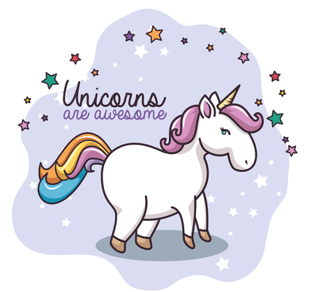 Colorful unicorn with stars and unicorns are awesome sign over white background. Vector illustration.