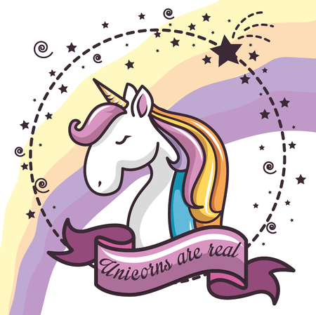 Colorful unicorn with stars, ribbon and unicorns are real sign sticker over white background. Vector illustration.
