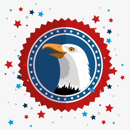 American eagle label with stars over white background. Vector illustration.