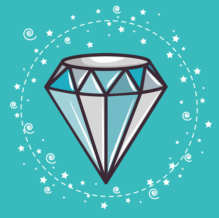 Diamond sticker over teal background. Vector illustration.